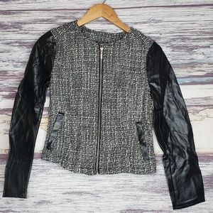 divided H & M tweed faux leather jacket size 6